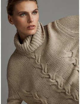 High Neck Braided AprÈs Ski Sweater by Massimo Dutti