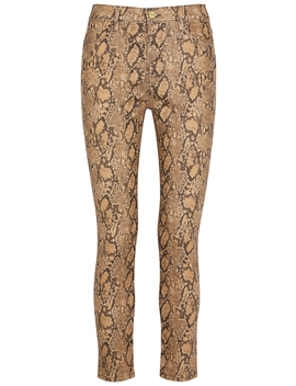Le High Skinny Coated Python Print Jeans by Frame Denim