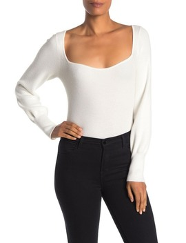Solid Square Neck Sweater Top by Free Press