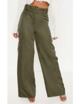 Khaki Belted Pocket Wide Leg Pants by Prettylittlething