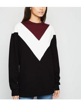 Burgundy Chevron Colour Block Sweatshirt by New Look