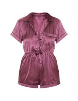 Berry Button Front Satin Romper by Prettylittlething