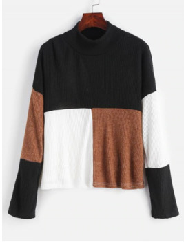Mock Neck Color Block Pullover Sweater   Multi S by Zaful
