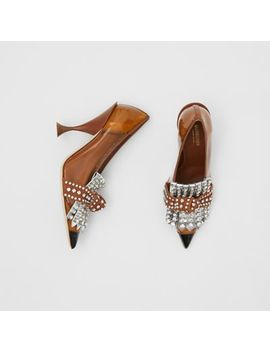 Crystal Kiltie Fringe Vinyl And Leather Point Toe Pumps by Burberry