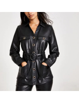 Black Faux Leather Long Sleeve Belted Shirt by River Island