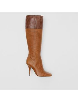 Embossed Leather Panelled Boots by Burberry
