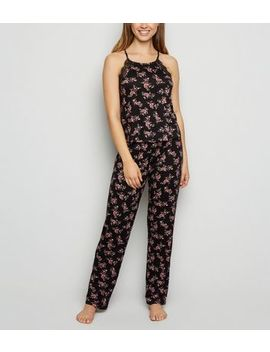 Black Floral Soft Touch Pyjama Trousers by New Look