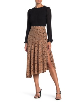 Floral Asymmetrical Midi Skirt (Petite) by Codexmode