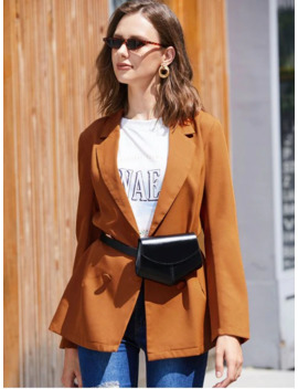 Zaful Solid Double Breasted Skirted Blazer   Dark Orange S by Zaful