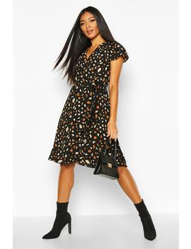 woven-spot-wrap-midi-tea-dress by boohoo