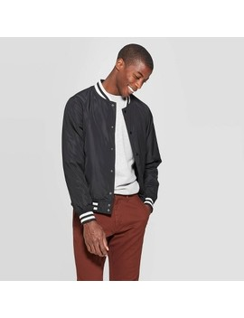 "<Span><Span>Men's Standard Fit Long Sleeve Solid Color Varsity</Span><Br><Span>Bomber Jacket   Goodfellow & Co Black</Span></Span><Span Style=""Position: Fixed; Visibility: Hidden; Top: 0px; Left: 0px;"">…</Span> by Goodfellow & Co Black…"