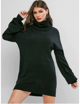 Turtleneck Drop Shoulder Mini Sweater Dress   Black L by Zaful