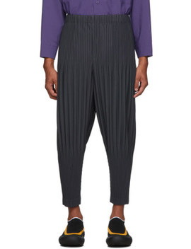 Charcoal Pleated Trousers by Homme PlissÉ Issey Miyake
