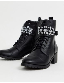 Head Over Heels Perlo Jewelled Strap Mid Heeled Biker Ankle Boots by Dune's
