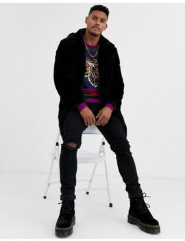 Asos Design Knitted Stripe Jumper With Tiger Design by Asos Design