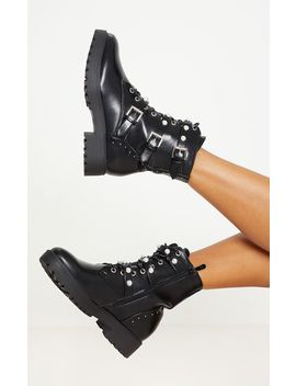black-lace-up-pearl-studded-biker-boot- by prettylittlething
