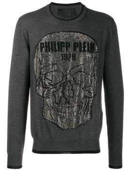 Pullover Mit Totenkopf Applikation by Philipp Plein