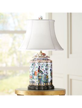 Famille Rose Scalloped Tea Jar Porcelain Table Lamp by Lamps Plus