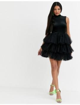 Asos Design X Christian Cowan Velvet Dress With Puff Ball Tulle Skirt by Asos Design