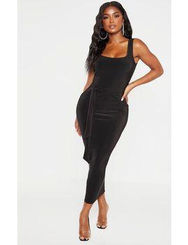 shape-black-slinky-tie-front-midaxi-dress by prettylittlething