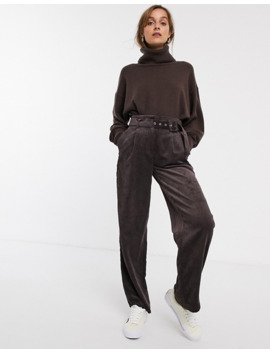 Only Cord Wide Leg Trouser With Belt In Brown by Only's