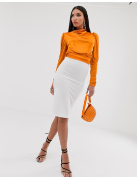 Asos Design Tall Cowl Neck Long Sleeve Backless Top In Orange by Asos Design