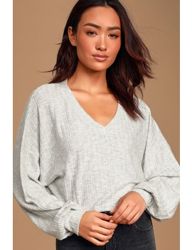 New Moves Heather Grey Ribbed Sweater Top by Lulus