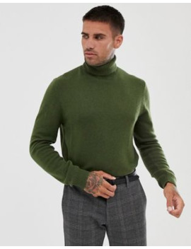 Asos Design Lambswool Roll Neck Sweater In Khaki by Asos Design