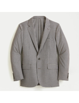 Ludlow Slim Fit Unstructured Suit Jacket In Houndstooth English Cotton Wool by J.Crew