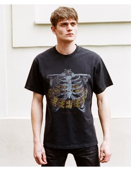 Printed Washed Black Cotton T Shirt by The Kooples