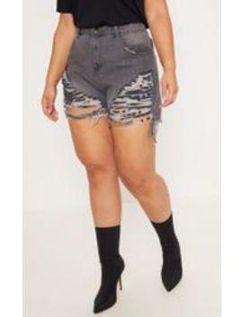 Plus Grey Extreme Rip Denim Shorts by Prettylittlething