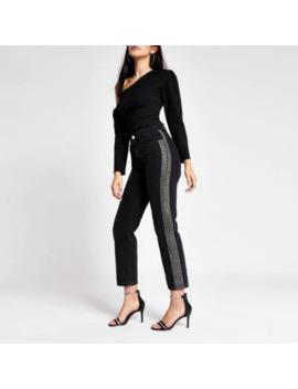 Black Mom Embellished Denim Jeans by River Island