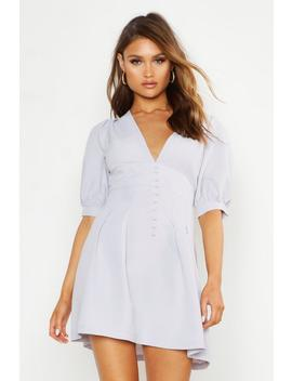 v-front-button-detail-pleat-skater-dress by boohoo