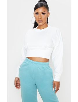 Cream Rib Extreme Hem Crop Sweater by Prettylittlething