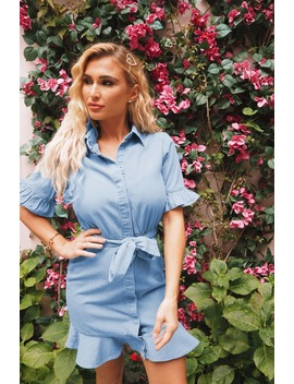 Billie Faiers Blue Denim Frill Mini Dress by In The Style