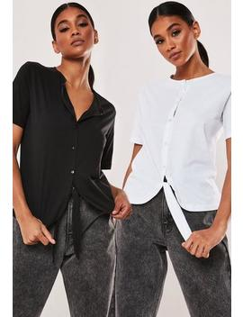 Tall Black And White 2 Pack Tie Front Button Crop Tops by Missguided