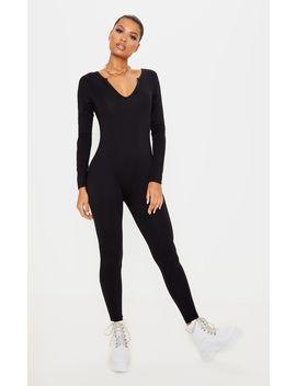 Black Seamless Cotton Elastane V Neck Jumpsuit by Prettylittlething