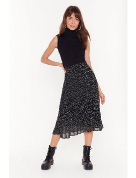 Polka Dot Pleated Midi Skirt by Nasty Gal