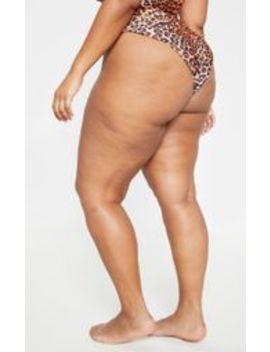 Plus Orange Leopard Print High Rise Bikini Bottom  by Prettylittlething
