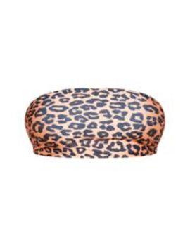 Plus Orange Leopard Print Bandeau Bikini Top  by Prettylittlething