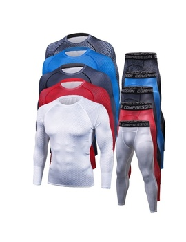 Cycling Suits Men's Gym Compression Suits 5 Colors A Suit Male Gym Sport Slim Clothes Suit Tights Fast Drying Clothes by Wish