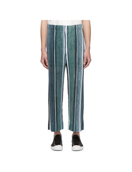 Grey & Blue Striped Trousers by Homme PlissÉ Issey Miyake