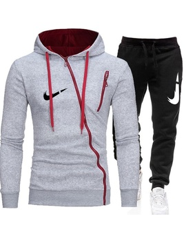 Fashion Men Zipper Hoodie Set Sportwear Suit Casual Male Jacket Sweatshirt + Pants 2 Pcs Set Autumn Winter Tracksuit Suit by Wish