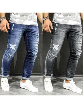 Autumn Winter Men Fashion Street Jeans Fitted Long Denim Pants Distressed Scratch Long Jeans by Wish