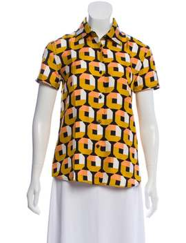 Geometric Printed Button Up Top by Prada
