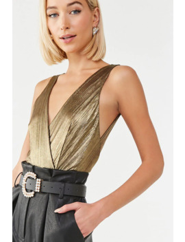 Metallic Surplice Bodysuit by Forever 21