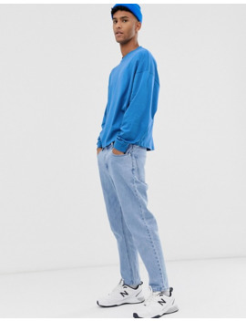Asos Design Oversized Boxy Cropped Long Sleeve T Shirt In Blue by Asos Design