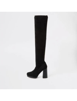 Black Croc Embossed Over The Knee Boots by River Island