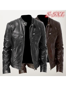 Fashion Men Vintage Cool Motorcycle Leather Jacket Autumn Winter Long Sleeve Jacket Coat Stand Collar Club Bomber Jacket Plus Size Brown / Black by Wish