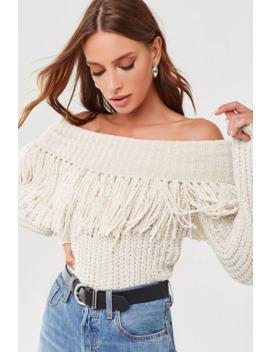 Fringe Off The Shoulder Sweater by Forever 21